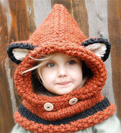 Wholesale Children Plain Hats - Fox design winter beanies windproof hats and scarf set for kids children crochet headgear soft warm hats 3 design free shipping