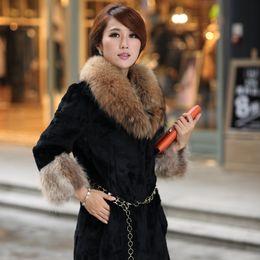 Wholesale Haining Fur - Wholesale-2015 Real Faux Fur Colete Feminino Fur Vest New Imitation Fur Raccoon Collar Seven Quarter Sleeve Haining Dresses In Long Coat