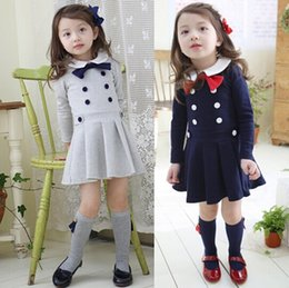 Wholesale Korean Dark Blue Dress - girls long sleeve preppy style dress kids spring autumn dresses baby girls pleated dress cotton dress korean college dress gray dark blue