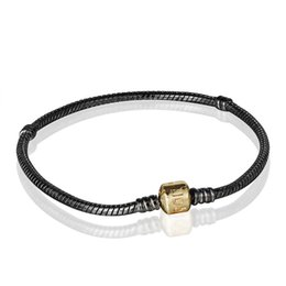 Wholesale Sterling Silver Bead Strands - Wholesale Promotion New Black With Gold Plated Bracelet S925 Sterling Silver Bangle Fit European Charms Beads 17-24CM Length DIY Jewelry