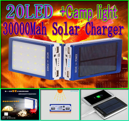 Wholesale Solar Light Mobile Charger - 30000mah solar camping light charger 20 led 30000 mah power bank 20led camp lights Dual USB battery energy chargers SOS help For Mobile 2pcs