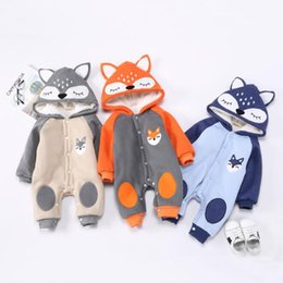 Wholesale Hot Cartoons Fox - 3 styles Hot selling Baby kids Christmas new style cartoon fox Thickening warm cotton long sleeve romper cotton kids autumn winter clothing