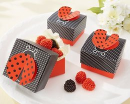 "Wholesale Cute Baby Shower Favor Box - wedding candy box baby shower favor box--party Decorations candy packing ""Cute as a Bug"" 3-D Wing Ladybug Favor Box 1500 pcs lot"