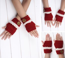 Wholesale Dancing Gloves - 2016 New Winter Solid button Lace knitted Fingerless Gloves Ballet Dance button glove Fashion 7 colors optional