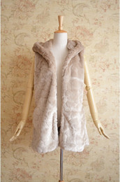Wholesale Rabbit Hoodie For Women - Wholesale-2015 winter Fur Jacket Faux Rabbit Fur vest for Women's Plus Size Medium-long Fur Vest Coat with hoodies Warm Free Shipping
