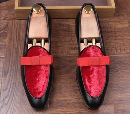 Wholesale trendsetter shoes - New luxury Design trendsetter pointed Bowtie Flats Shoes Male Mixed color Wedding Prom Pageant Quinceanera Business Oxford shoes