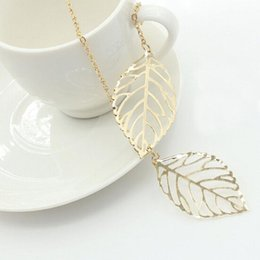 Wholesale Double Star Necklace - 2016 Star Jewelry Hot Sale Women Double Leaf Necklace Fashion Leaf Pendant Necklaces for Girls Lady