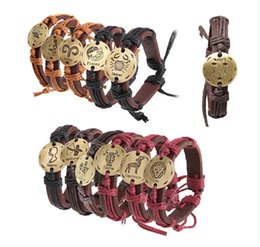 Wholesale Rope Weaves - Europe and the United Fashion chain states 12 zodiac couple twine weaving handmade genuine leather bracelet small jewelry