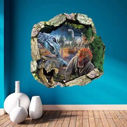 Wholesale Dinosaur Stickers - 3D Dinosaurs Backdrop Wall Stickers Removable Waterproof 3D Stereoscopic Large Dinosaur Mural Backdrop Papel Parede Wallpaper Wall Sticker