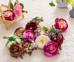 Wholesale flower arrangement supplies - 100 pcs Dia 10cm Artificial Fabric Silk Peony Flower Head For Wedding Decoration Arch Flower Arrangement DIY Material Supplies