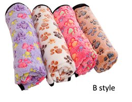 Wholesale hot dog fleece - HOT Pet Blanket Cute Warm Det Bed Mat Cover Small Medium Large Towl Paw Handcrafted Print Cat Dog Fleece Soft Blanket