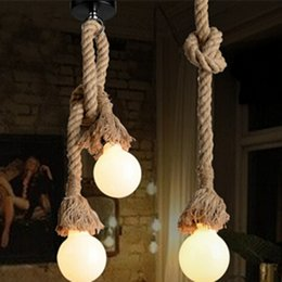 Wholesale Dining Pendant Lamp - Retro Rope Hanging Lamps Loft Vintage Pendant Lamp Restaurant Bedroom Diningroom Pendant Lamp Hand Knitted Hemp Rope Lights