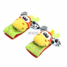 Wholesale Infant Rattle Socks - Wholesale- Animal Infant Baby Kids Hand Wrist Bells Foot Sock Rattles Soft Toys N01