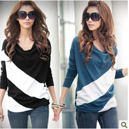 Wholesale ladies striped tees - 2017 Autumn T-shirts Tees Fashion Women T-shirts Clothing Loose Long Sleeve Stitching Striped Knitwear Pullover For Ladies tops t shirt A41