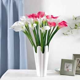 Wholesale Orange Calla Lilies - Artificial PU Calla Flower Multi Colors Romantic Wedding Gift Calla Lily Party Decoration for Sale SK601