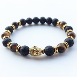 Wholesale Lava Style Unisex - Hot Style Lava Stone beads Buddha Men Bracelets Golden Bronze Buddha Black Yoga bracelet Top Quality Natural Stone Beaded Strands Unisex