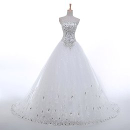 Wholesale Korean Fashion Wedding Gowns - Real Sample Luxury Sexy Sweetheart Crystal Tulle New Korean Bling Corset Princess 2015 Wedding Dresses Pictures Fashion Bridal Ball Gowns