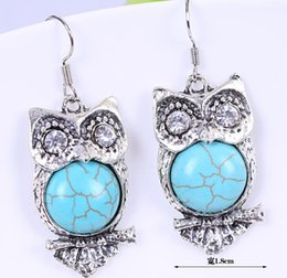 Wholesale Turquoise Fish Earrings - MIC New turquoise Owl With Cute Feather Charm Earrings 925 Silver Fish Ear Hook With Gift