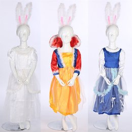Wholesale Bunny Pink Costume - 2018 Kids Girls Princess Rabbit Costume Children Cosplay Bunny Dress Halloween Carnival Party Fancy Dress Decor
