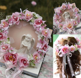 Wholesale Pink Wedding Hair Accessories - Wedding Accessories 2015 Hair Flowers 3D Hand Made Flowers Pink Artificial Flower Hair Accessories Dhyz 01