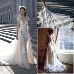 Wholesale lace over satin wedding dress - 2018 Spring New Over Skirts A line Lace Wedding Dresses Sheer Crew Neckline Illusion Bodice Appliques Bridal Gown Short Sleeves BA0265