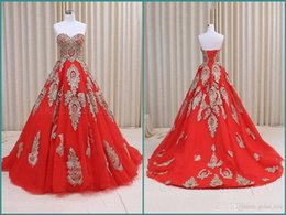 Wholesale Gold Modern Chinese Wedding Dresses - Red Lace Wedding Dress Real Image Tulle Chinese Style Applique Sweetheart Lace Up Court Train Bridal Gowns