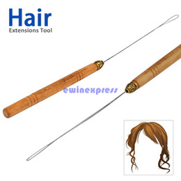 Wholesale Micro Loop Hair Extensions Tools - Hot Sale Hair Tools Micro Ring Hair Extension Wooden Loop Needle Threader Thread Feather Hook Tool