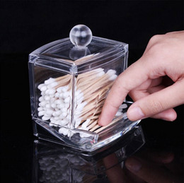Wholesale Q Tip Cases - Storage Box Clear Acrylic Q-tip Holder Box Cotton Swabs Stick Storage Cosmetic Makeup Tools Store Case CYB41
