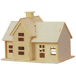 Wholesale country wooden - Wholesale- Children 3D Wooden Country Station Model Puzzle Toy Construction Kit Gift