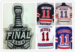Rangers stanley cup online-La mejor calidad New York Rangers # 11 Mark Messier camiseta azul blanco 2014 stanley cup Rangers Jersey Mark Messier cosido barato