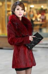 Wholesale Womens Fur Lined Winter Coats - Top Quality Faux Fur Luxury Lapel Neck Long Womens Faux Rabbit Hair Fur Noble Grace Body Slim Winter Warm Coat Plus Sizes