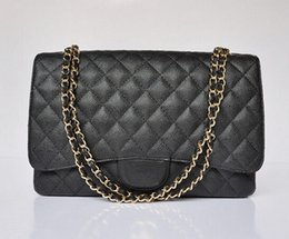 Wholesale Double Shoulder Woman Leather - 2015 Women famous brand Caviar Leather bag Quilted Genuine Leather Double Flap Maxi Shoulder bag Messenger Chain Bag