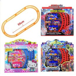 Wholesale Plastic Train Sets Kids - Spiderman Kitty Electric Train Track Set Baby Boys Girls Educational Toy Splicing Rail Train Toddler Gift Kids Toys Scale Models