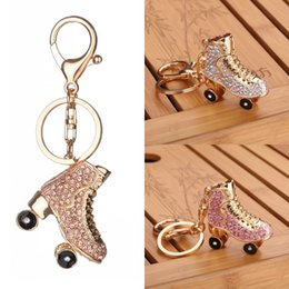 Wholesale Roller Skates Sales - Hot Sale Women Bag Pendant Keychain Fashion Roller Skates Shoe Pendant Inlay Diamond Keychains 3 Styles Keyrings Free DHL D327Q