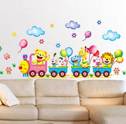 Wholesale Cartoon Train Wall Sticker - Cartoon Cute Animals Train DIY Removable Wall Stickers Balloon Kids Bedroom Home Decor Mural Decal for Children