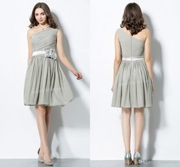 Wholesale Grey Chiffon Bridesmaid Dresses - Grey Junior Bridesmaids Dresses 2017 Elegant A Line One Shoulder Zipper Back Knee Length Handmade Cheap Chiffon Short Brides Maids Dresses