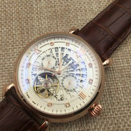 Wholesale Luxury Watches Perpetual - Famous design Tourbillon Full-automatic Mechanical Watch Luxury Fashion Brand Leather Man Calendar Week Multifunctional Watches P47129