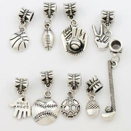 Wholesale Ball Charm - 100pcs lot Sports Ball Charm Metal Big Hole Beads Antique Silver 9Styles Fit European Charm Bracelets Jewelry DIY