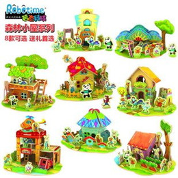 bprice-bprice prices - Wholesale-Parenting Interaction Educational toys include post DIY cabin model puzzle Forest house wood stereo 8 optionals can be choose