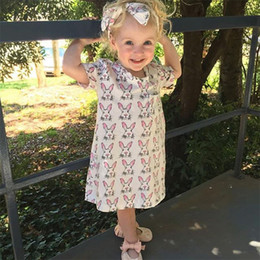 Wholesale Wholesale Dresses For Little Girls - Wholesale Little Girls Dresses Summer Cartoon Rabbit Printed Kids Dress For Girl Clothes Cute Animal Bunny Children Dress Costume 24M-6T