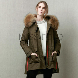 Wholesale Large Black Jacket - Top Hot Warm Winter Jacket for women Parka Coat Army Green Large Raccoon Faux Fur Collar Hooded Woman Outwear Loose Clothing OXL15092103