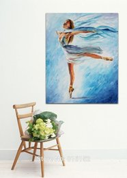 Wholesale Dance Oil Painting Canvas - Skating Dance Ballerina Palette Knife Oil Painting Printed On Canvas for Home Living Hotel Cafe Wall Decoration
