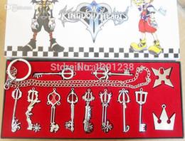 Wholesale Pvc Necklace - Wholesale-12pcs Set Kingdom Hearts II KEY BLADE Necklace Pendant+Keyblade+Keychain Different Style Silver Key Blade Sora Keyblade Pendant