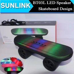 Wholesale Light Speakers Car - BT03L Skateboard Bluetooth Mini Speaker with LED Stereo Audio Sound Light Portable Wireless Subwoofer Car Handsfree MIC FM Music Player Box