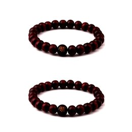 Wholesale Buddhist Hands - 10pcs lot 8mm Black Brown Color Wood Chain Beaded Bracelet Energy Buddhist Rayer Hand Bangle Charm Mala Bracelets Jewelry