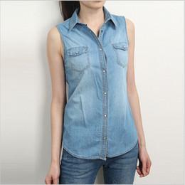 Wholesale Blue Denim Blouse - Wholesale-Hot Denim Shirt Women Sleeveless Blouse Turn Down Collar Blouses For Women Blue Womens Shirts Jeans Tops Blusa Feminina Camisa