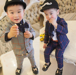 Wholesale Gentleman Style Boy Clothes - Boys Clothing Set 2015 Autumn Hot Korean Style Grid Kids Boy Suit Gentleman Suit jacket + Pants 2pcs Set Chirldren Leisure Sets 90-120 T785