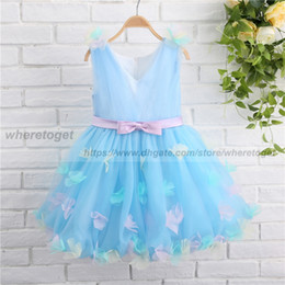 Wholesale Tea Length Baby Pageant Dresses - 2018 Communion Dresses For Baby Girls Pageant Light Sky Blue Tulle Ball Gowns lace Flower Girl Dress For Weddings tea Length With bow