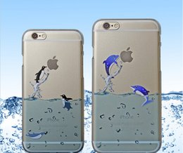 Wholesale Animal Cases For Iphone 4s - For iphone 6 6 plus 4S 5S Ocean Animals dolphins Sea Lions watter Matte Crystal Hard pc Clear transparent Crystal case back cover