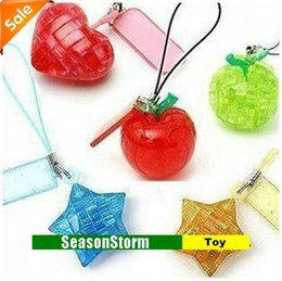 Wholesale Mini 3d Crystal Puzzles - Wholesale-[CPAP Free Shipping] Wholesale Cute Multi Style Mini 3D Crystal Puzzles Toy Keychain 120pcs lot (SH-31P)